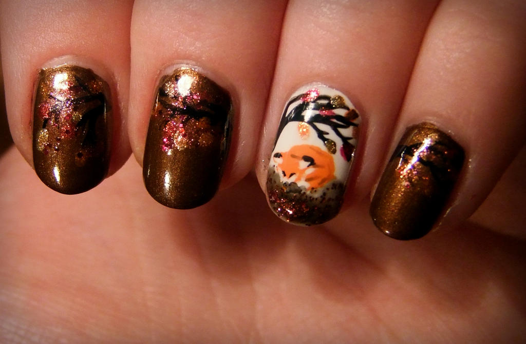 Fox nail art by Lyralein on DeviantArt
