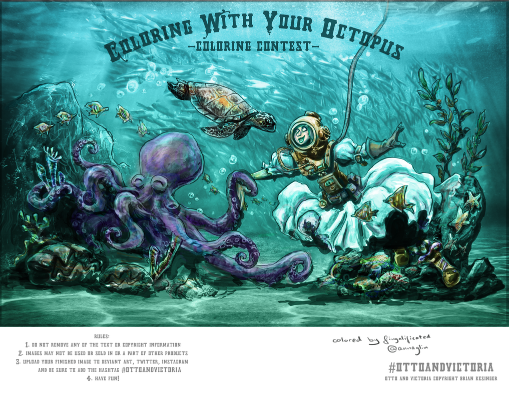 coloring with your octopus diving by fingalificated on deviantart