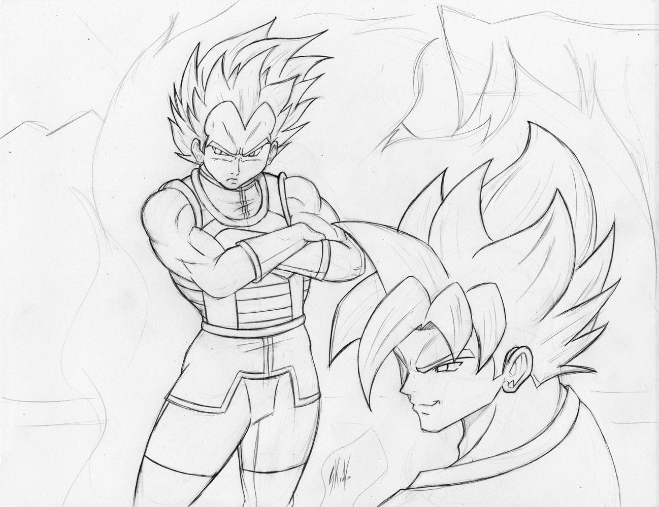 Majin Vegeta Vs Ssj2 Goku Lineart By Brusselthesaiyan On: Pencils By Skeezoo On DeviantArt