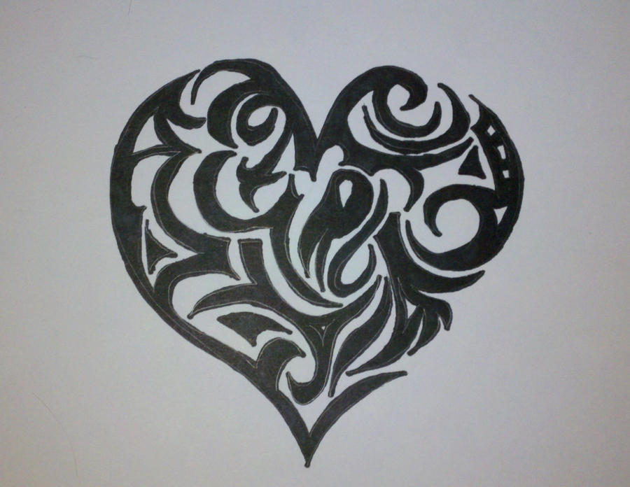 Tribal Heart Drawing by Tribal Heart Drawing