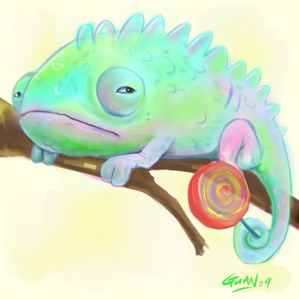 lazy chameleon by chuenguan