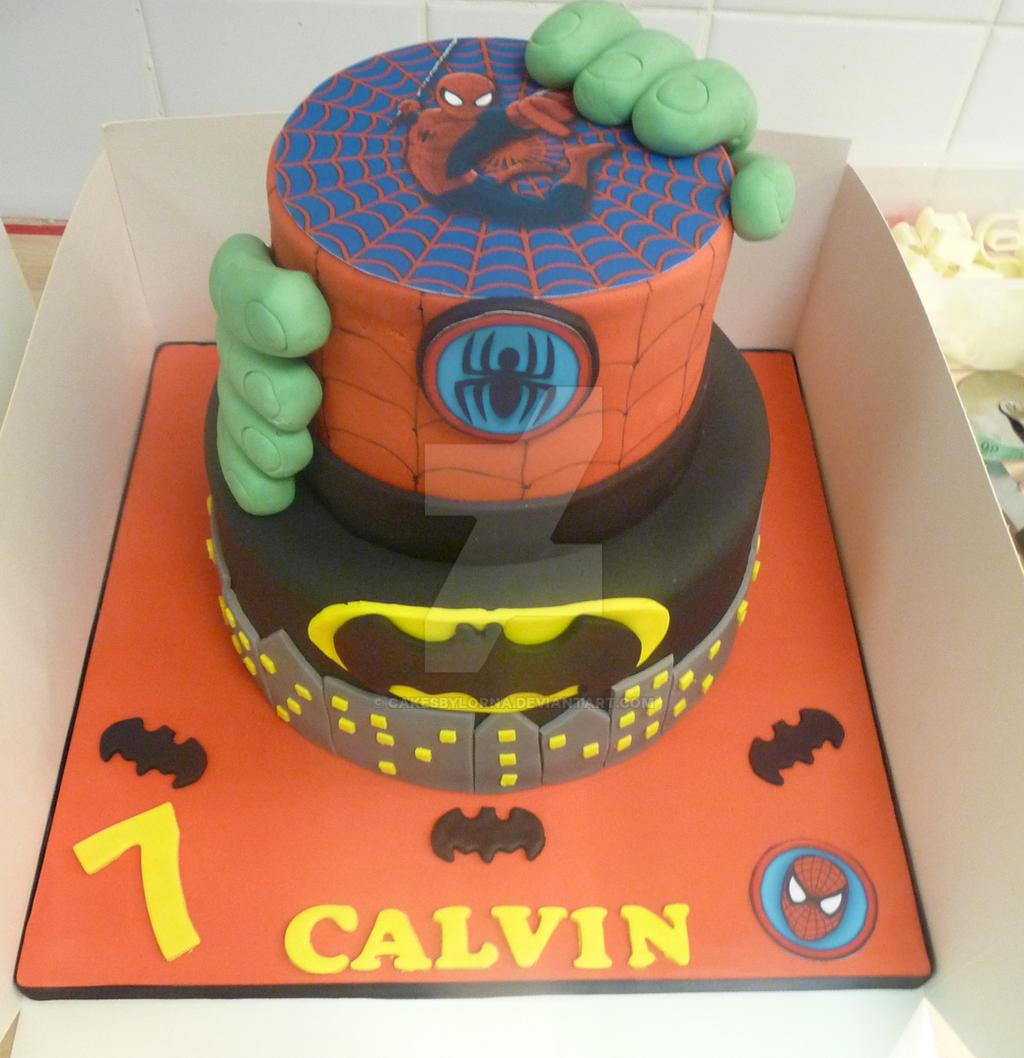 coloring pages batman spiderman cakes - photo#16