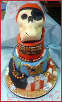 Pirate Theme Cake with Skull by cakesbylorna
