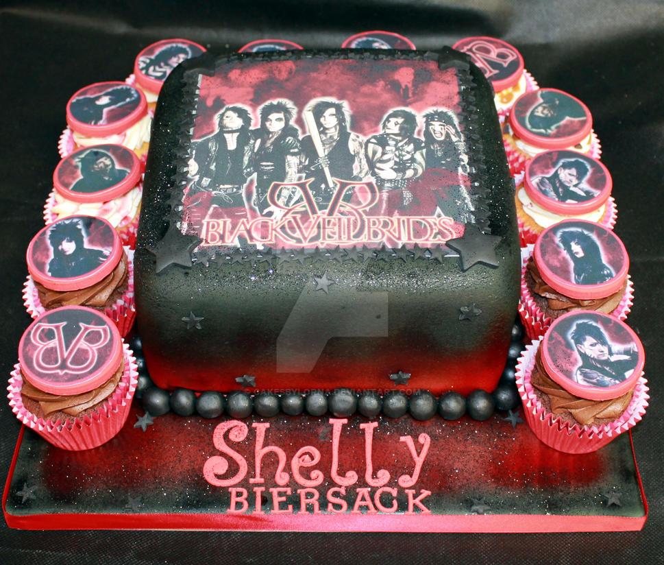 Black Veil Brides Cake and Cupcakes by cakesbylorna