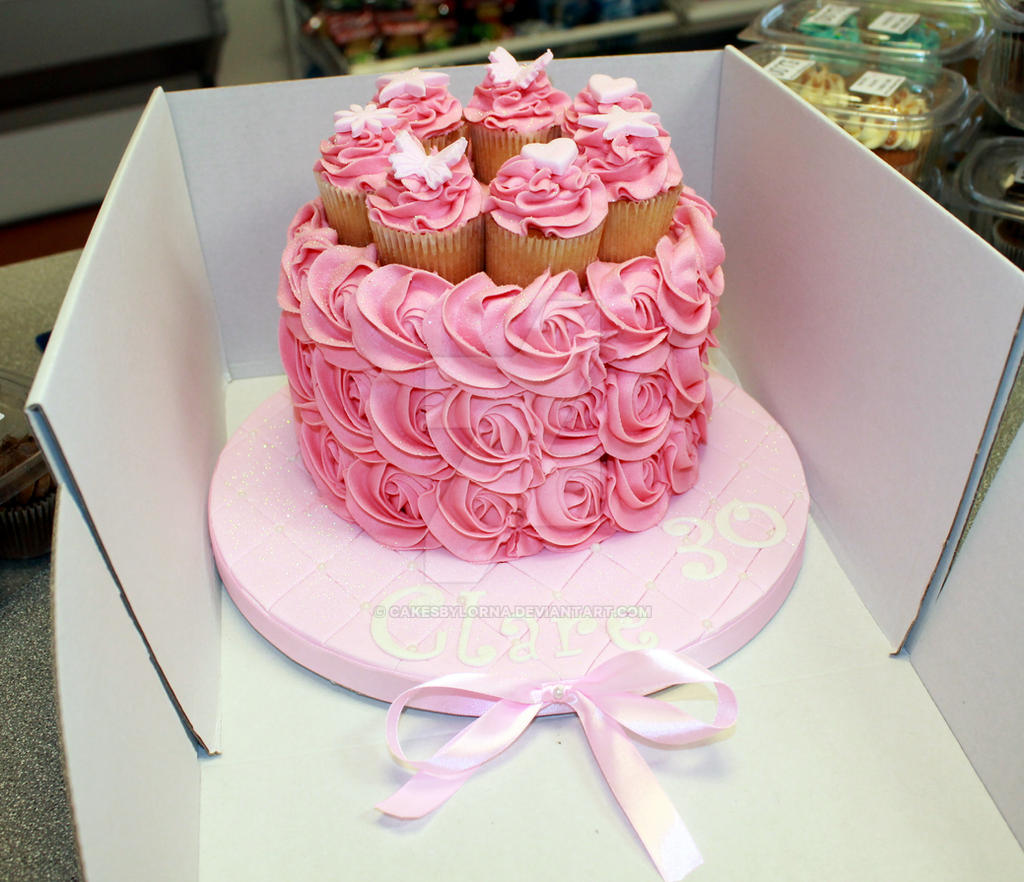 Pink Buttercream Roses Birthday Cake by cakesbylorna