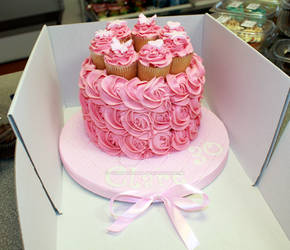 Pink Buttercream Roses Birthday Cake