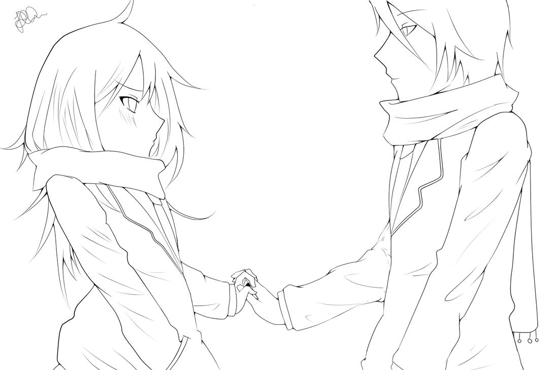 Drawing of Hands Holding Anime Couple Holding Hands