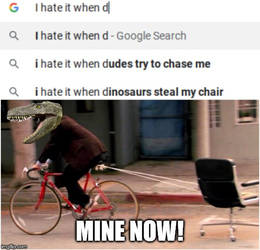 Dinosaurs stealing chairs!