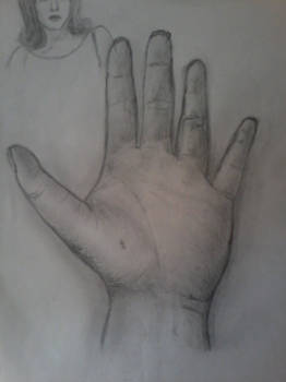 The palm of the left hand