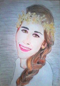 A girl with flower's hair