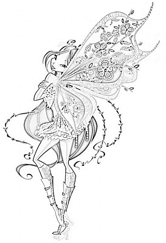 flora enchantix coloring pages by ilovepanadas