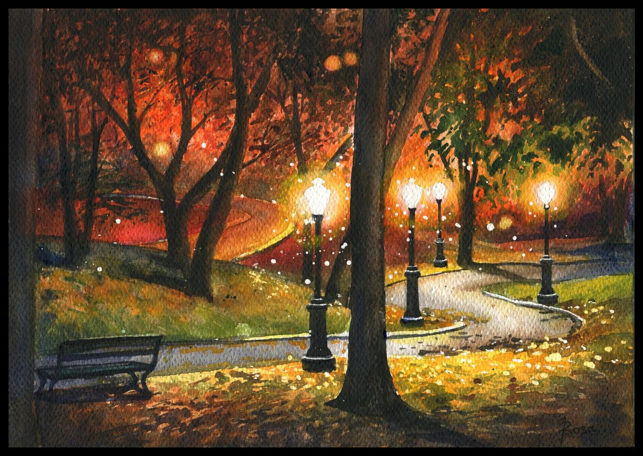Park at night by JoaRosa