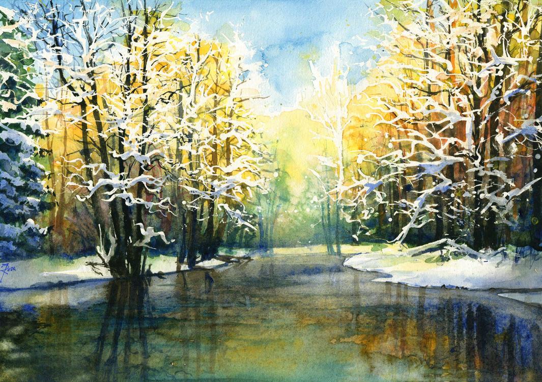 Frozen lake by JoaRosa