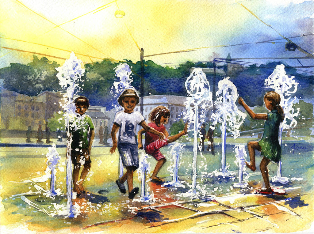Kids and the fountain by CyjanekPotasu