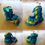 Pearlized Teal and Gold Mini Armor Dragon