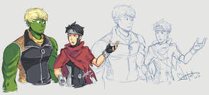 Young Avengers - Hulkling + Wiccan doodles 1