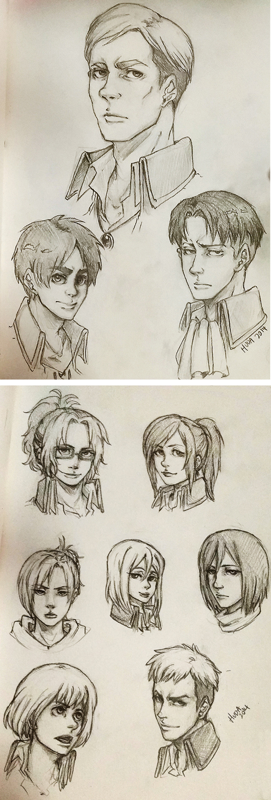 Shingeki no kyojin Doodle - sketches by msloveless
