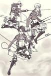 Shingeki no kyojin Doodle - Levi + Farlan + Isabel