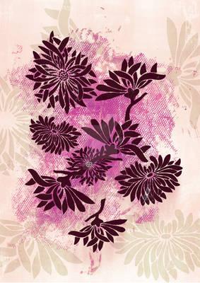 Peonies (black on pink)