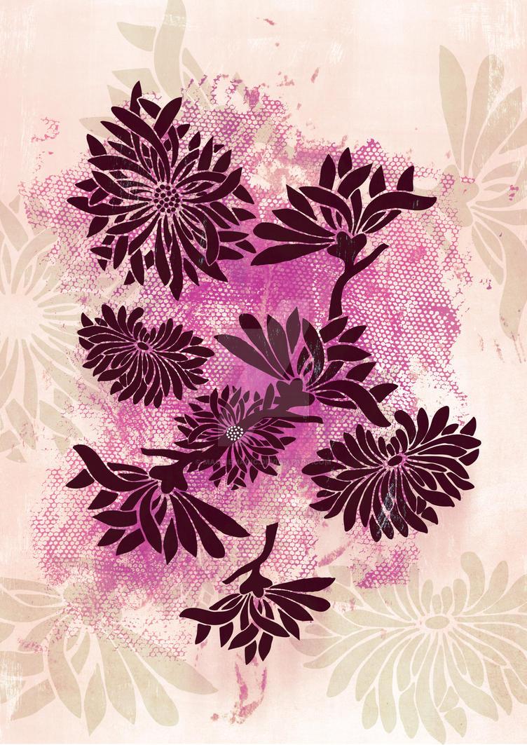 Peonies (black on pink) by MagpieMagic
