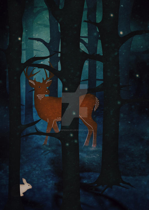 Winter Woods at Night by MagpieMagic