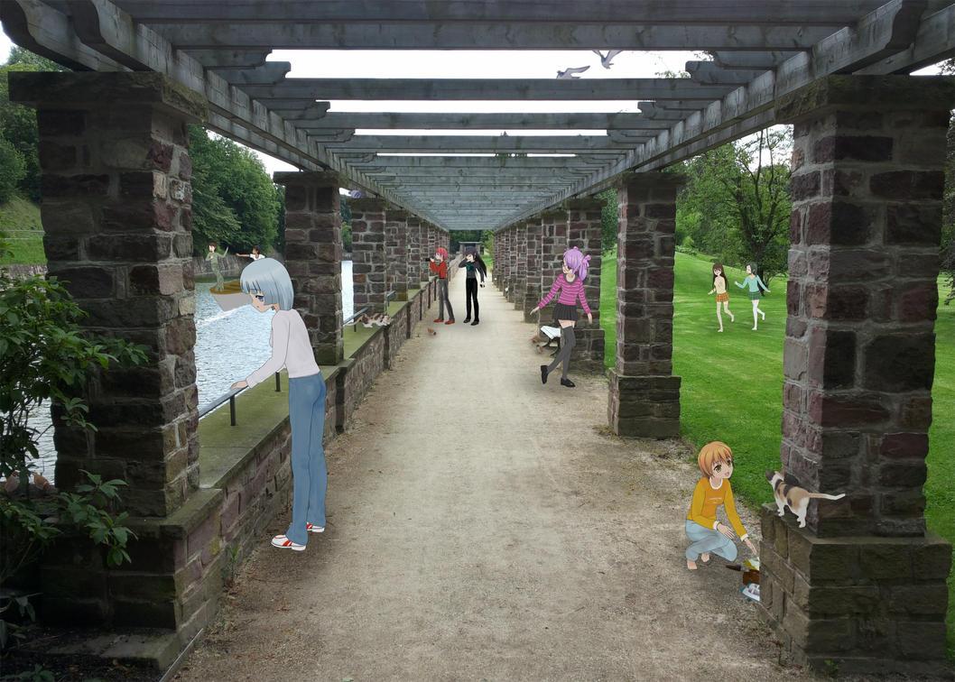 Animegirls in Nature Park with Pergola Pathway by Vandarque