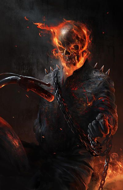 ghost rider paint by D-Stone on DeviantArt  |Ghost Rider Digital Painting Photoshop