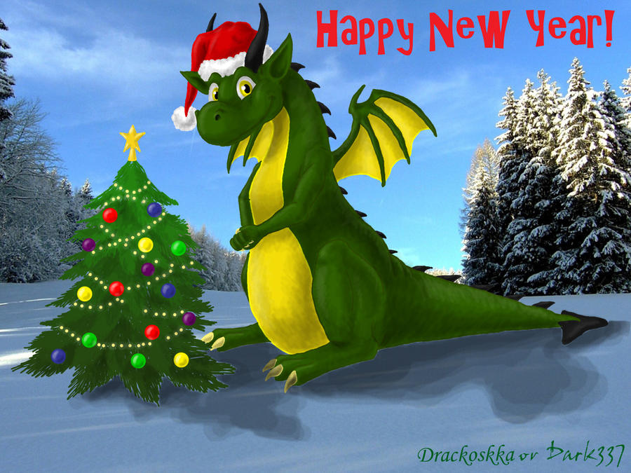 Дракон новогодний открытка