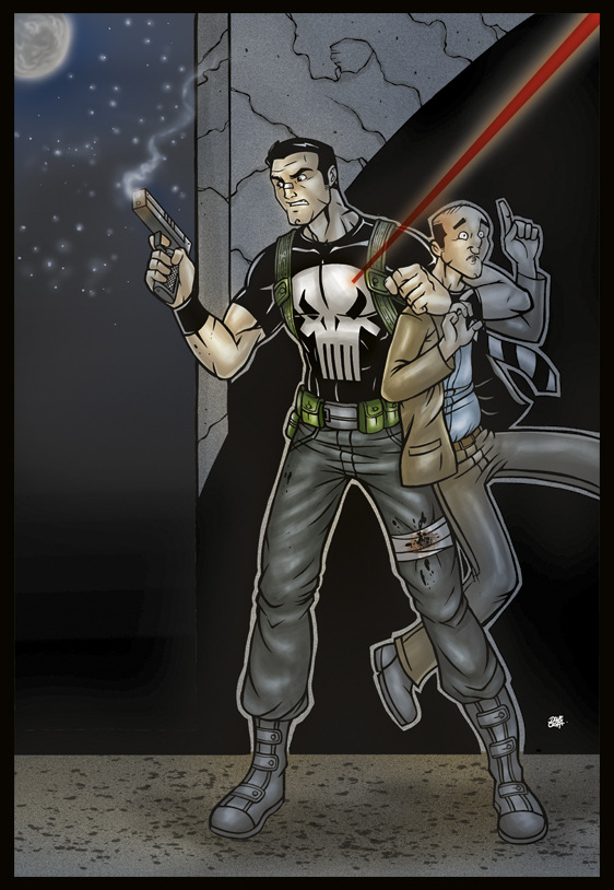 The Punisher color by inkdropstudio