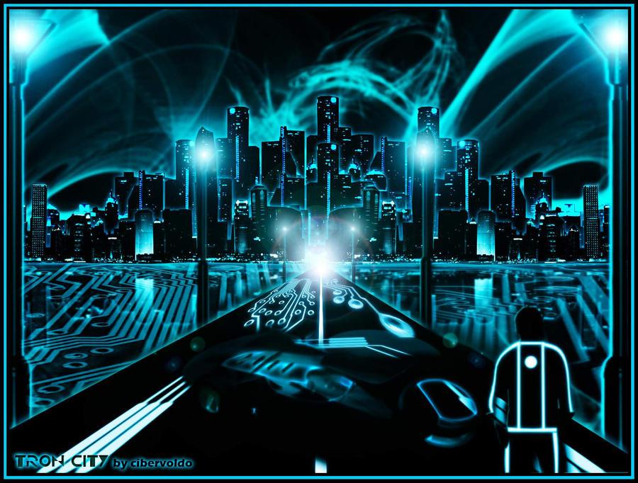 Tron Legacy City Desktop Wallpaper