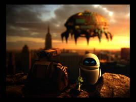 Wall-E and Eve by cibervoldo