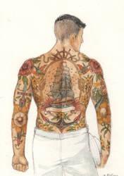 Back tattoo by Kurotsuchi-sama