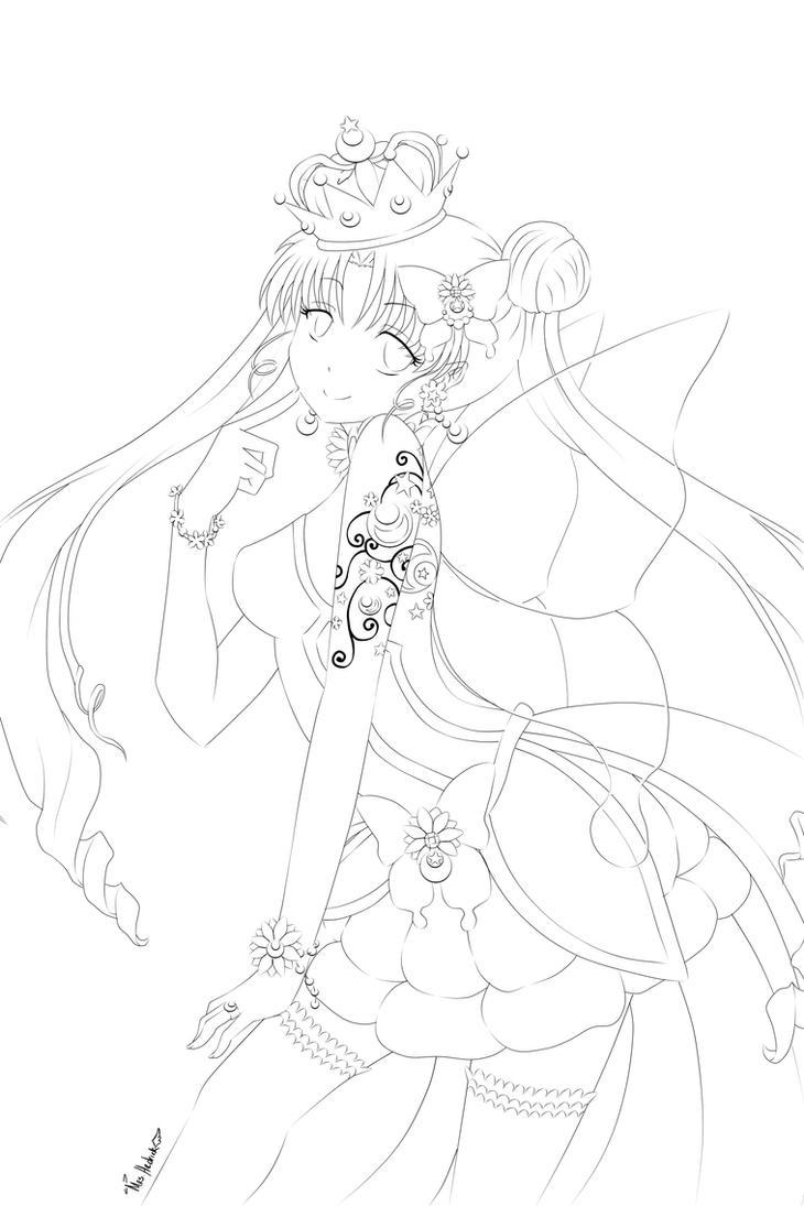 princess serenity line art by nightmaresky on deviantart