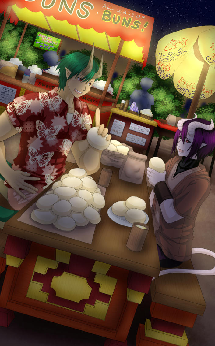 PC: Food Stall with Sirus and Andus by nightmaresky