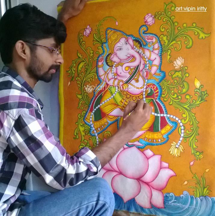 Dance ganesh kerala mural painting by vipiart on deviantart for Mural art of ganesha