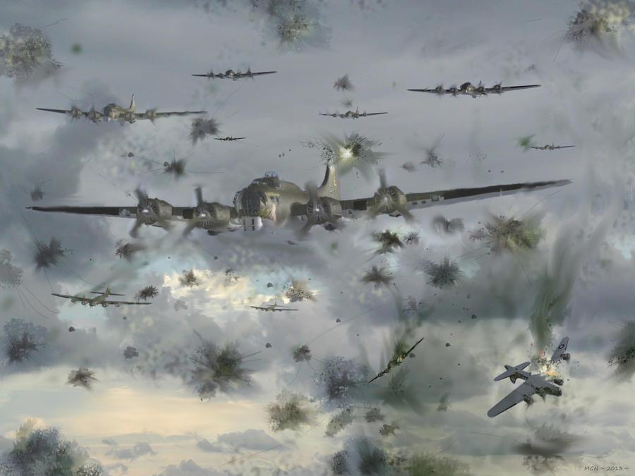 Heavy Flak over Leuna ~ 1944 by zulumike