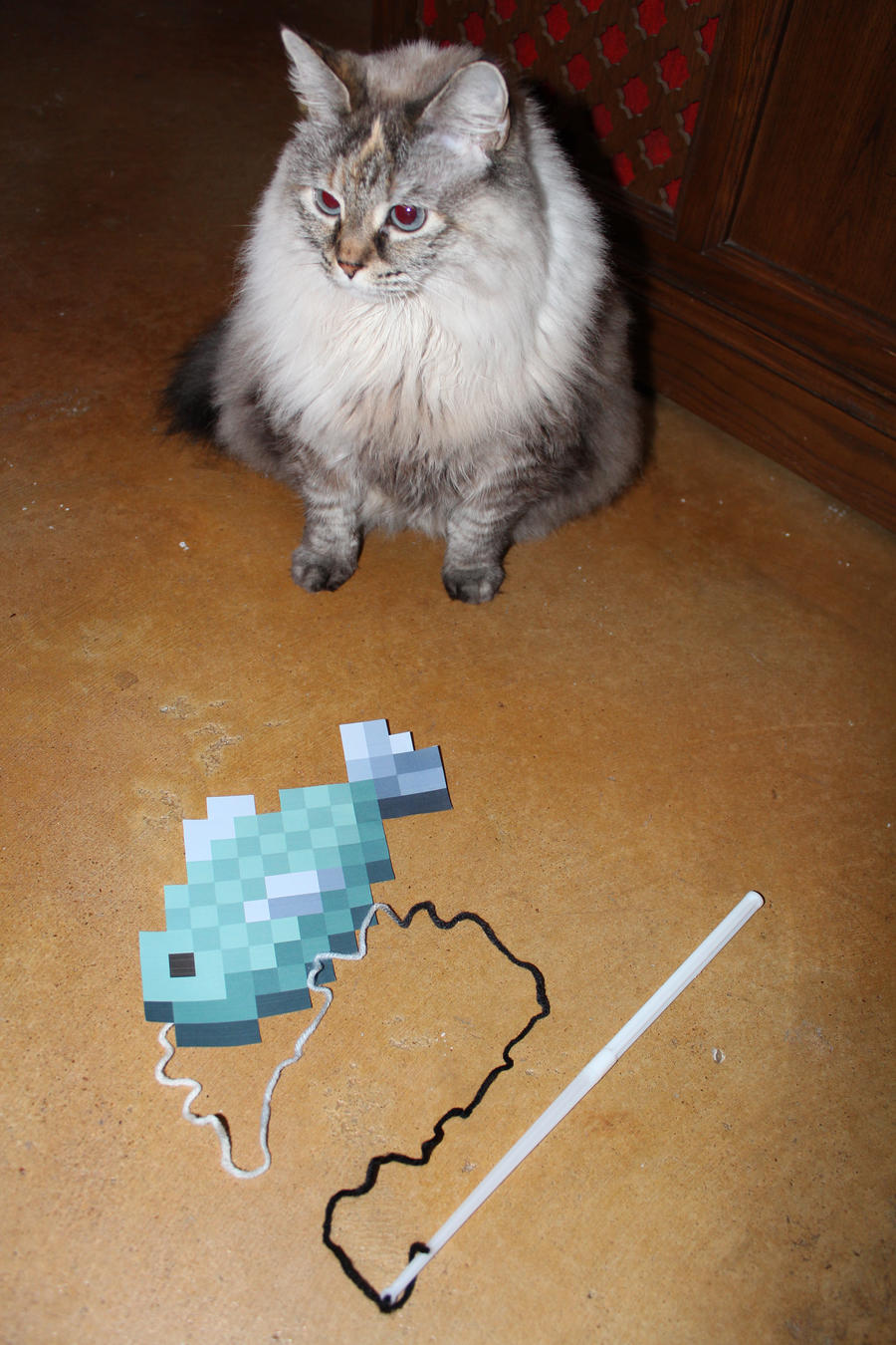Good Wallpaper Minecraft Cats - nibbles_and_her_minecraft_fish_toy_by_charmandersflame-d4noljd  Image_43727.jpg