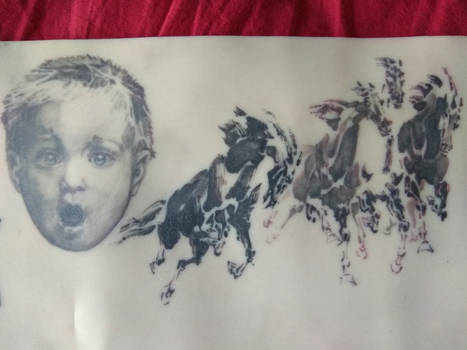 Horses and portrait tattoo
