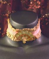 Pink /Ochere Lace Choker with Handpained Fan