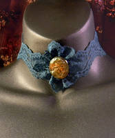 Green Lace and Iridescent Amber Cameo Choker