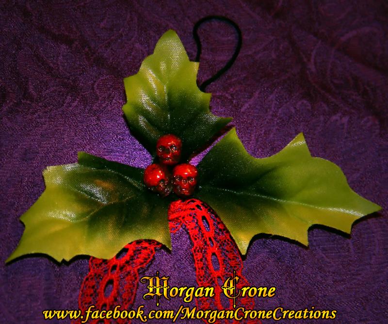 Skullyberries Gothic Skull Hollyberry Ornamets by MorganCrone