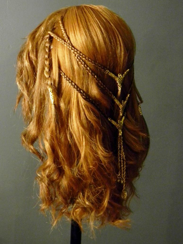 Viking Shieldmaiden Celtic Braid Costume Wig Side by