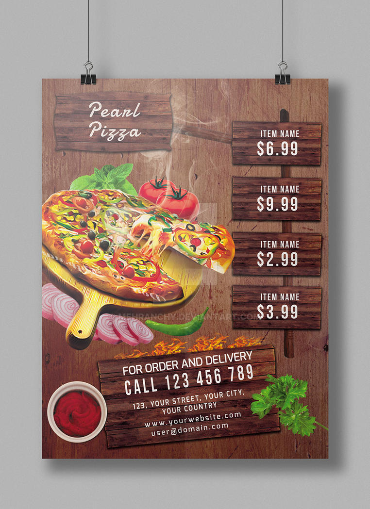 pizza sale flyer template - pizza restaurant flyer poster by mehranchy on deviantart