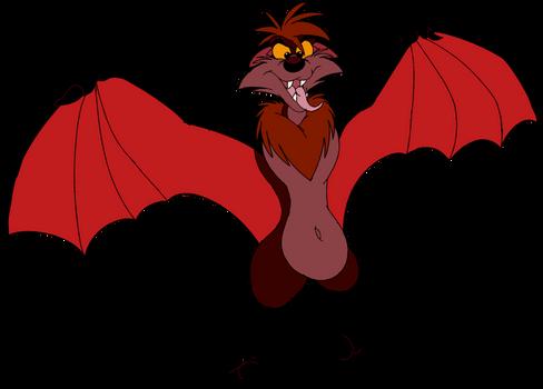 Buster Pretending to Be a Terrifying Vampire Bat