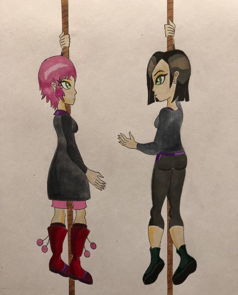 Aelita and yumi hanging on rope