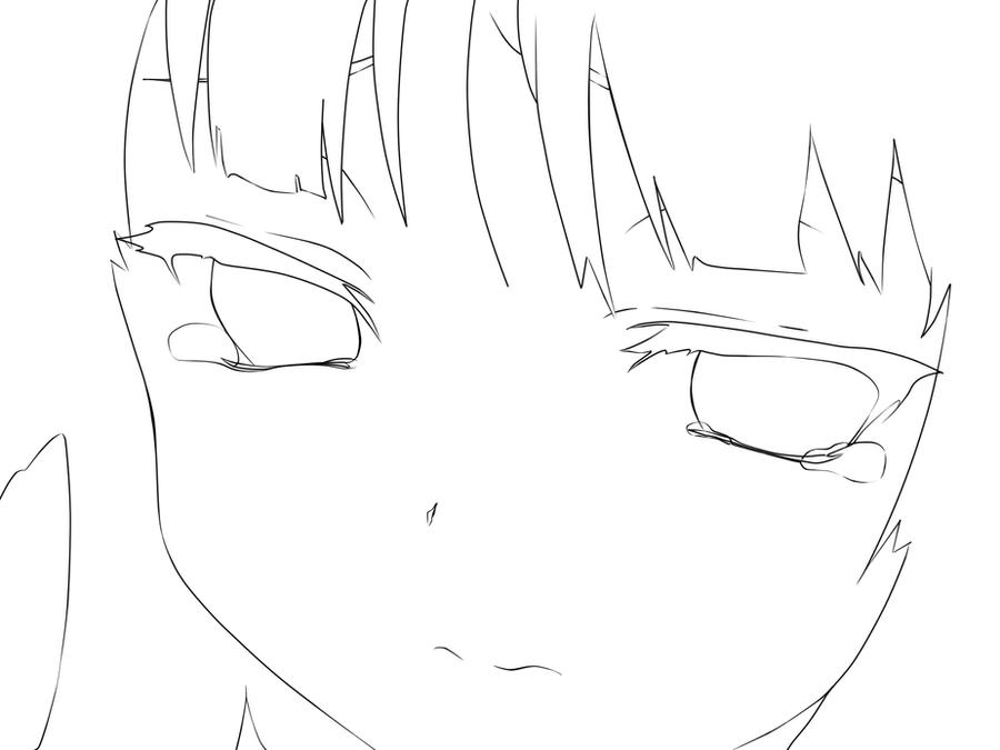 Sad girl lineart