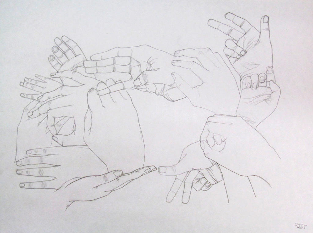 Contour Line Drawing Of Hand : Contour line drawing of hands by cosaca on deviantart