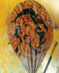 Marylin Monroe - Leaf art painting by Lynxinto