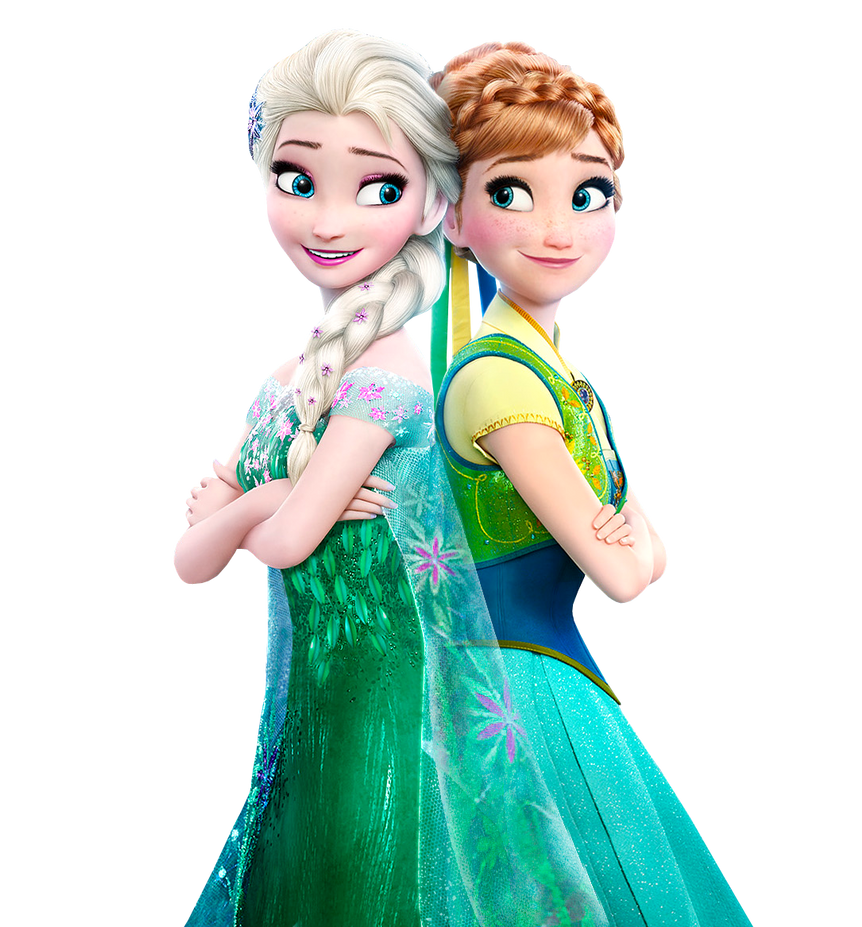 Elsa and Anna Frozen Fever- Transparent Background by Simmeh