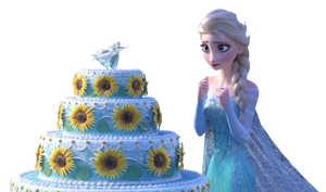 Elsa and cake - Png by Simmeh